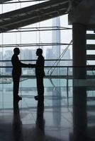 Silhouettes of two business men shaking hands 11044016226| 写真素材・ストックフォト・画像・イラスト素材|アマナイメージズ