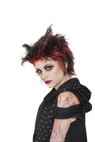 Portrait of punk woman showing attitude over white backgroun