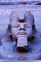 Close up of sculpture on Great Temple of Ramses II Abu Simbe