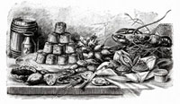 パイとシーフードがあるビュッフェ(イラスト) 11047005803| 写真素材・ストックフォト・画像・イラスト素材|アマナイメージズ