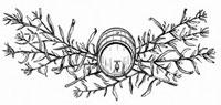 木製の樽とカワラヨモギ類の葉(イラスト)