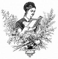 料理法の辞書をもつ女性(イラスト)
