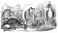 静物:文字G、ヤギ、ガチョウ、緑(イラスト)