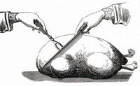 焼いたガチョウを切り分ける(イラスト)