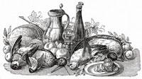 鶏肉、野菜、果物&ワイン(イラスト)