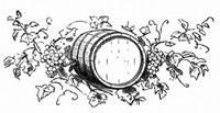 ブドウとつるの葉の間のワイン樽(イラスト)