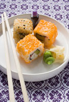 Inside-out rolls with soy sauce、ginger and wasabi