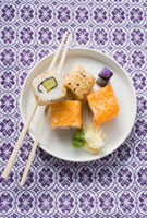 Inside-out rolls with soy sauce�Aginger and wasabi