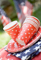 Paper cups,plates and napkins for the 4th of July (USA)