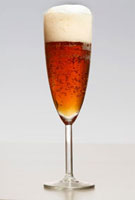 Wheat beer in a sparkling wine glass