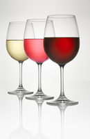 Three wine glasses (of white, ros・ and red wine)