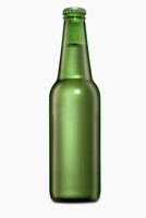 Beer in a Green Bottle on a White Background