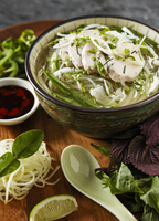 Bowl of Chicken Pho with Ingredients