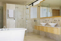 Modern bathroom shower vanity and bathtub