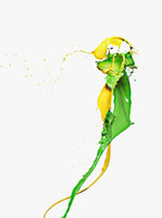 Yellow and green paint colliding 11055011794| 写真素材・ストックフォト・画像・イラスト素材|アマナイメージズ