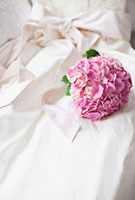 Pink hydrangea on wedding dress