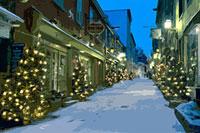 クリスマスツリーのある雪のケベックの街並み CG 11065000098| 写真素材・ストックフォト・画像・イラスト素材|アマナイメージズ