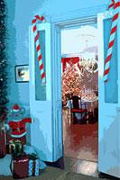 クリスマスのプレゼントとドアと飾り