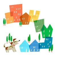 ハウジングイラスト 犬と街