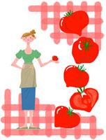 女性の生活イラスト トマトと女性