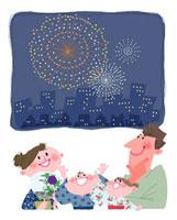 花火を見る浴衣の家族 11067000144  写真素材・ストックフォト・画像・イラスト素材 アマナイメージズ