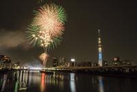 隅田川花火大会 11069013595| 写真素材・ストックフォト・画像・イラスト素材|アマナイメージズ