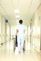 車椅子の患者と看護師後姿