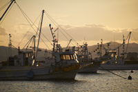 漁船と夕焼け