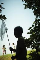 捕虫網を持った男の子のシルエット