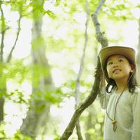 枝をつかむ女の子 11070010411| 写真素材・ストックフォト・画像・イラスト素材|アマナイメージズ