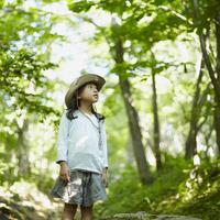 木々を見上げる女の子