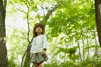 森林に佇む女の子 11070010428| 写真素材・ストックフォト・画像・イラスト素材|アマナイメージズ