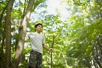 木の枝を持つ男の子