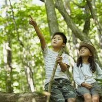 指差す男の子と見上げる女の子 11070010446| 写真素材・ストックフォト・画像・イラスト素材|アマナイメージズ