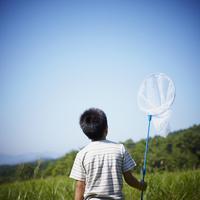 捕虫網を持った男の子の後姿 11070010457| 写真素材・ストックフォト・画像・イラスト素材|アマナイメージズ