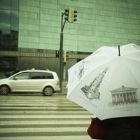 傘をさして信号待ちをする人 フィンランド