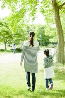 新緑の公園を散歩する女の子と母親の後ろ姿