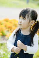 シロツメクサの花を持つ女の子