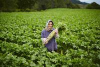 ダイコンを持つ笑顔の農婦 11070018494| 写真素材・ストックフォト・画像・イラスト素材|アマナイメージズ