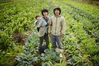 畑に立つ農家ファミリー 11070018498| 写真素材・ストックフォト・画像・イラスト素材|アマナイメージズ