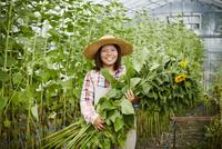 ヒマワリを持つ笑顔の農婦