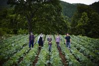 畑に並んで立つ農家ファミリー