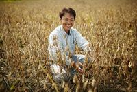 大豆畑の笑顔の農夫 11070018546| 写真素材・ストックフォト・画像・イラスト素材|アマナイメージズ