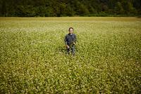 花咲くソバ畑に立つ農夫 11070018616| 写真素材・ストックフォト・画像・イラスト素材|アマナイメージズ