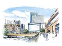 仙台城下町百景 仙台駅ペデストリアンデッキ 11070018997| 写真素材・ストックフォト・画像・イラスト素材|アマナイメージズ