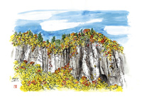 仙台城下町百景 磐司岩(二口渓谷) 仙台市秋保 11070019024| 写真素材・ストックフォト・画像・イラスト素材|アマナイメージズ