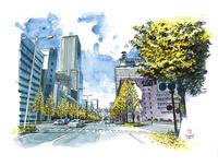 仙台城下町百景 二番丁通 河北ビル前 11070019059| 写真素材・ストックフォト・画像・イラスト素材|アマナイメージズ