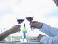 乾杯するミドル夫婦の手