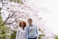 花見をする外国人女性2人