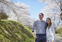 桜を眺める外国人カップル